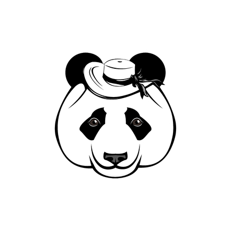 Cute panda in wide-brimmed hat. Panda bear vector illustration, isolated on white background.