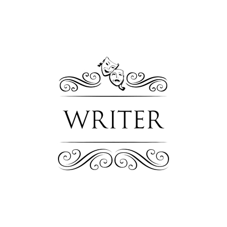 Theater masks. Writer logo with swirls, decoration elements. Vector illustration isolated on white background. Illustration