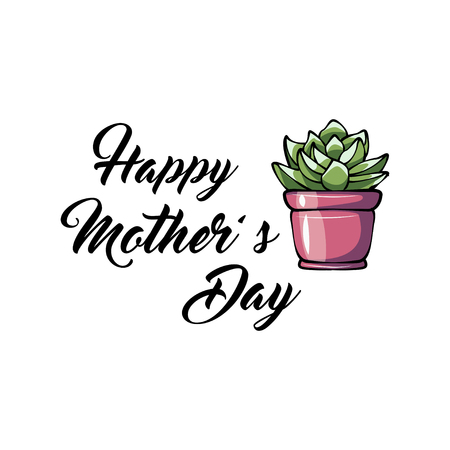 Happy mother s day greeting card with sukkulent. Vector illustration isolated on white background. Mom s day gift. Ilustração
