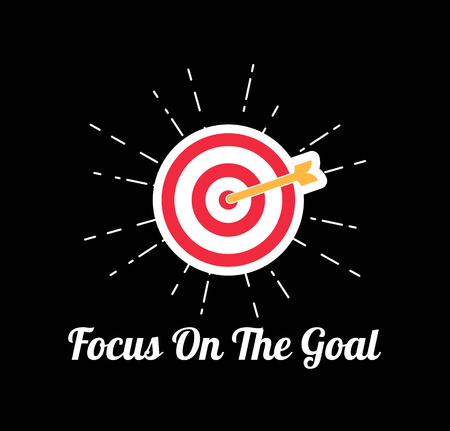 Target Icon. Goal with arrow. Focus on the goal lettering. Vector illustration isolated on black background. Illustration