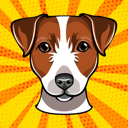 A Jack russell terrier head. Dog muzzle. Vector illustration isolated on colorful yellow background.
