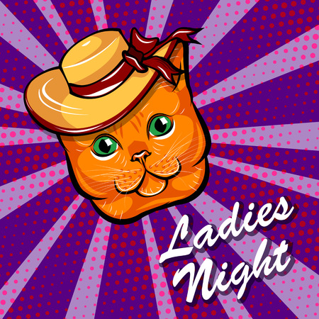 Red Cat in Wide-brimmed hat. Cat muzzle. Ladies night lettering. Vector illustration isolated on colorful background. Bow with ribbons.