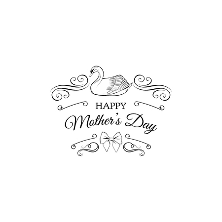Happy mother s day greeting card with swan, swirls, filigree elements and bow. Vector illustration.