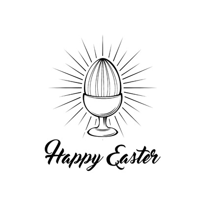 Happy easter day greeting card with egg holder. Vector illustration. Egg in beams.