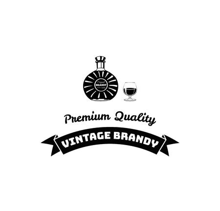 Bottles of brandy. Vintage brandy lettering with ribbon. Alcohol drink. Vector illustration. Standard-Bild - 96823641