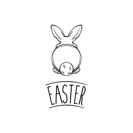 Happy Easter and white bunny bottom. Vector illustration. Easter greeting card. Easter rabbit, hare.