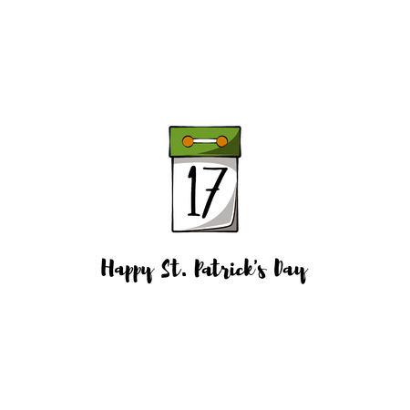 Tear-off calendar with the date 17 March to St. Patrick s Day. Vector illustration.