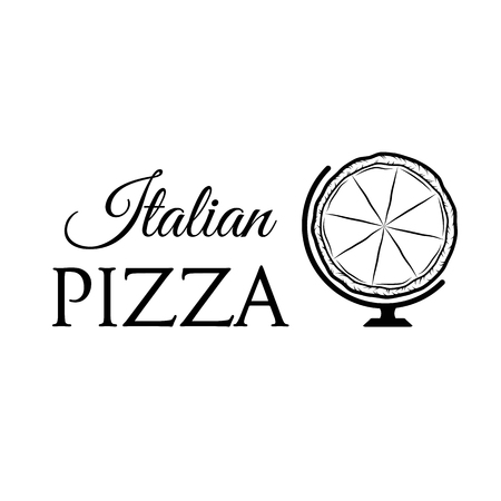 Pizza Globe an Italian Food silhouette Vector illustration isolated on white background.