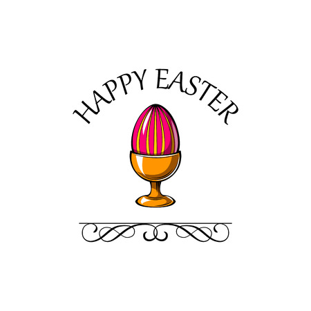 Easter greeting card. Easter egg in egg holder. Vector illustration.