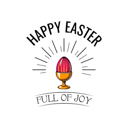 Happy Easter day greeting greeting card with egg holder in beams. Vector illustration.