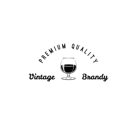 Glass of vintage brandy, premium quality lettering. Alcohol drink icon, pub and bar labels. Menu design vector illustration.