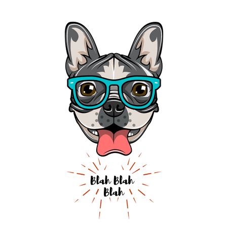 Hipster Geek French Bulldog. Dog geek. Vector illustration isolated on white background. Vettoriali