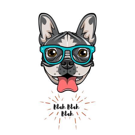 Französische Bulldogge des Hippie-Aussenseiters. Hund aussenseiter. Vektorabbildung getrennt auf weißem Hintergrund.