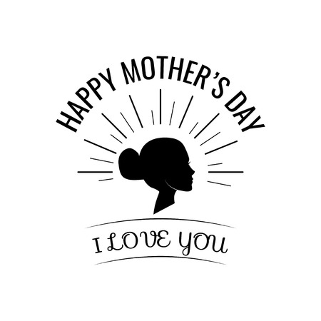 Happy Mother s Day. Woman s silhouette in beams. Vector illustration. I love you lettering.  イラスト・ベクター素材