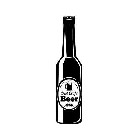 Beer bottle icon. Vector illustration isolated on white background.