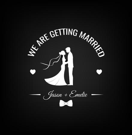 Bruiloft ontwerp silhouetten van bruidegom en bruid met strikje.