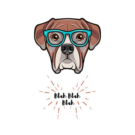 Cane boxer con gli occhiali. Illustrazione vettoriale isolato su sfondo bianco. Archivio Fotografico - 96790740