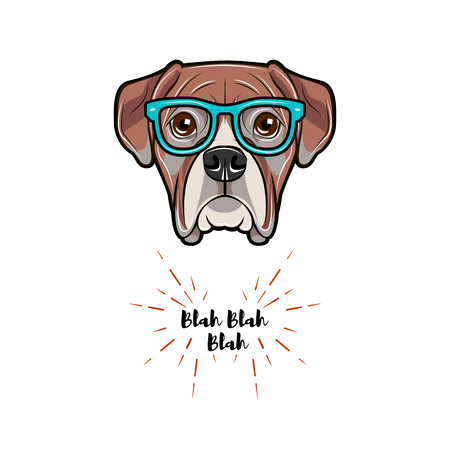 Boxer dog wearing glasses. Vector illustration isolated on white background.