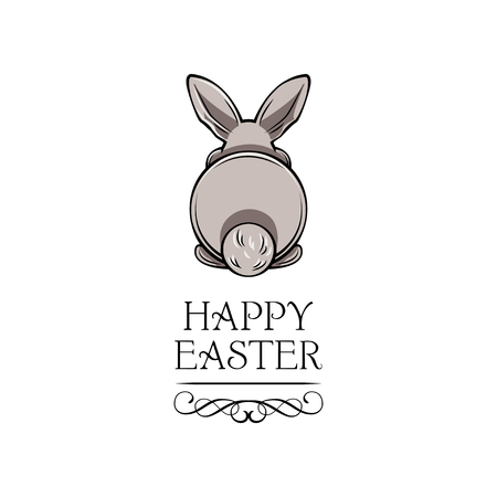Happy Easter Text and white bunny bottom. Vector illustration isolated on white background.