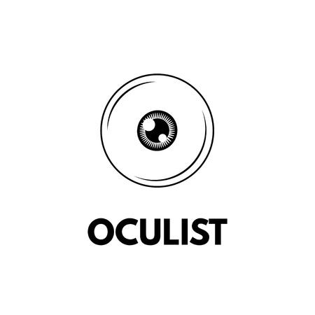 Eye icon. Oculist lettering. Oculist badge label logo. Vector illustration isolated on white background. Design element.