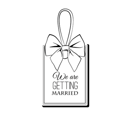 Wedding label with bow. Wedding badge. Save the date cards. Wedding invitation. Vector illustration. Vectores