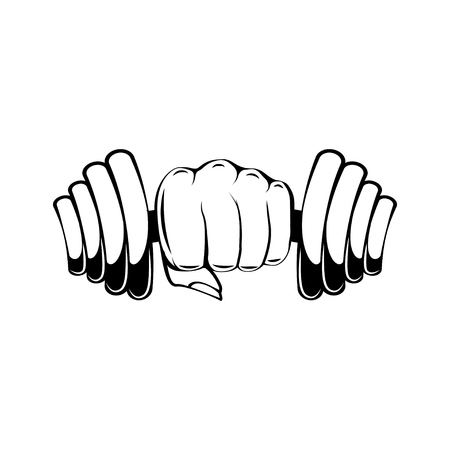 Hand with dumbbell. Dumbbell in fist. Gym, fitness, sport label. Train hard, lettering Vector illustration Illustration