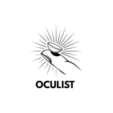 Illustration of the contact lens on your finger. Lens in beams. Oculist logo label badge. Oculist lettering. Vector illustration.