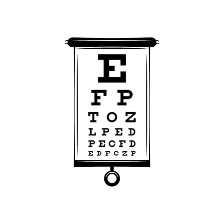 Poster for vision testing in ophthalmic study with which the doctor is testing people on the quality of their vision. Sivtsev s table. Vector illustration.