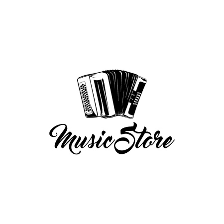 Hand drawn classic accordion. Vintage musical instrument. Music store logo label badge. Music symbol. Vector illustration Illustration