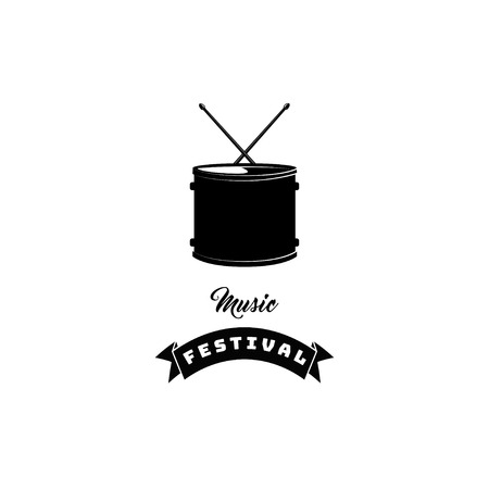 Drum icon with Ribbon. Music festival lettering. Vector illustration isolated on white background.