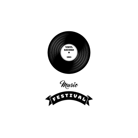 Vector illustration of a vinyl record. Retro music. Vinyl with ribbon. Icon label badge. Music festival lettering. Illustration