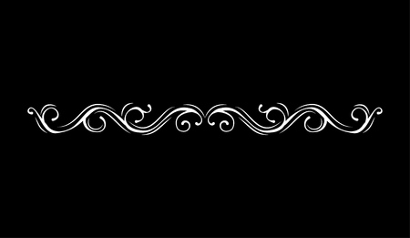 Vintage vector line element. Calligraphic decorative divider border swirl scroll monogram frames. Isolated on black background. Greeting card, invitation design.  イラスト・ベクター素材