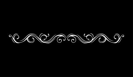 Vintage vector line element. Calligraphic decorative divider border swirl scroll monogram frames. Isolated on black background. Greeting card, invitation design. Illustration