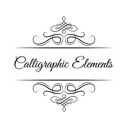 Calligraphic design elements . Decorative swirls or scrolls, vintage frames , flourishes, labels and dividers. Retro vector illustration. Calligraphic elements lettering. Vettoriali