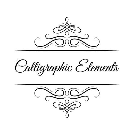 Kalligraphische Gestaltungselemente. Dekorative Wirbel oder Schriftrollen, Vintage-Rahmen, Schnörkel, Etiketten und Trennwände. Retro vektorabbildung. Kalligraphische Elementbeschriftung. Vektorgrafik
