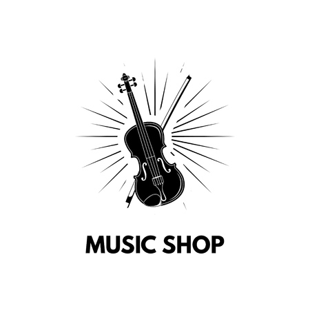 Violin in beams Icon Illustration. Violin with bow. Music shop label. Vector illustration isolated on white background.
