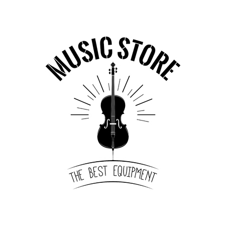 Violin in beams. Music store logo label badge. The Best equipment lettering. Vector illustration.