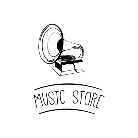 Old gramophone. Retro music. Music store. Vector illustration isolated on white background.