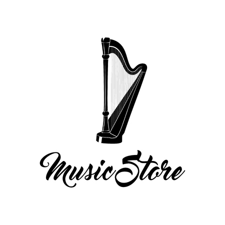 Harp musical instrument. Music Store logo label badge. Vector illustration isolated on white background.