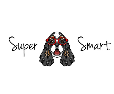 English cocker spaniel in smart glasses. Super smart lettering Illustration