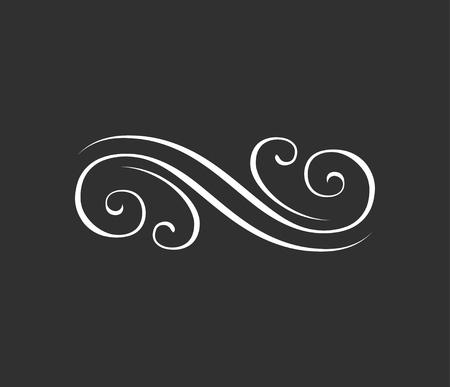 Floral design element. Swirl, skroll element. Vector illustration isolated on black background. Illustration