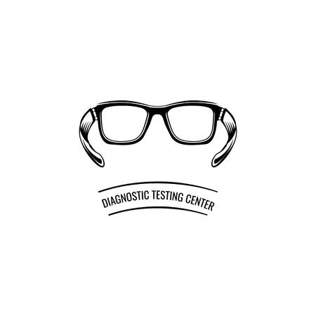 Eyeglasses icon. Optic eyeglasses. Diagnostic testing center text. Vector illustration isolated on white background.