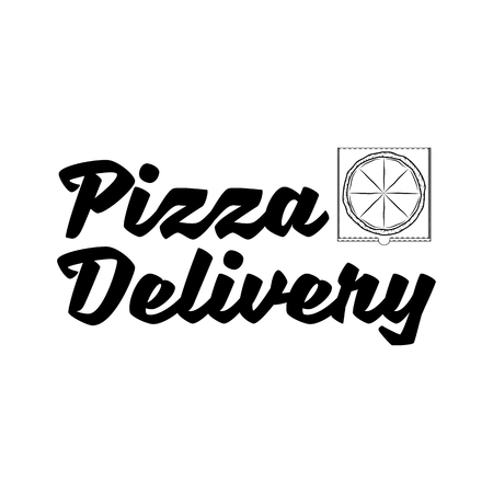 Pizza delivery hand written lettering logo, label, badge. Pizza box. Vector illustration isolated on white background.