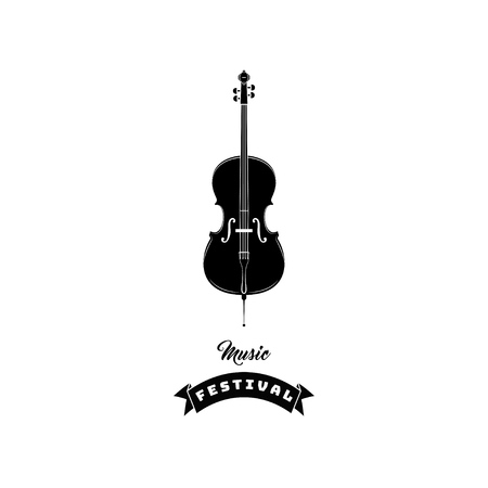 Violin icon. Music symbol. Music festival text. Vector illustration isolated on white background.