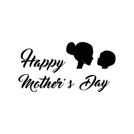 Mother and baby silhouette. Mother s day. I love you lettering. vector illustration. Can be used for logo and mother s day and baby shower celebration invitation and greeting card.