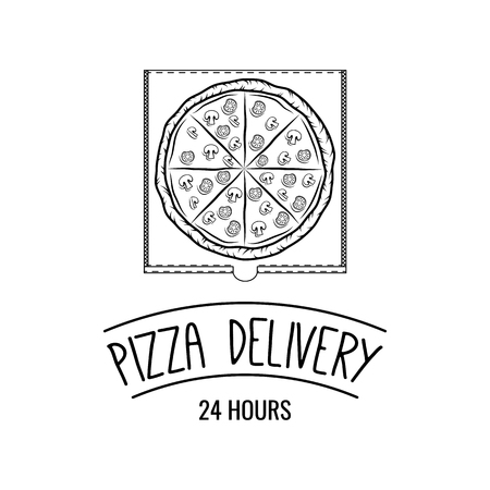 Cartoon style doodle hot pizza in the box. Pizza delivery. Vector illustration. Fast food delivery company. Fresh pizza with ingredients symbol.