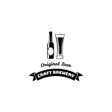 Beer Bottle And Glass. Craft Beer and Original Beer lettering, Ribbon. Vector illustration. Menu design. Illustration