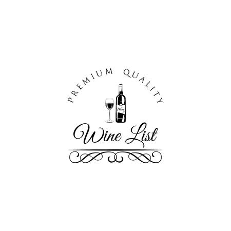 Wine list design Vector illustration. Wine bottle and glass. Vintage design. 向量圖像