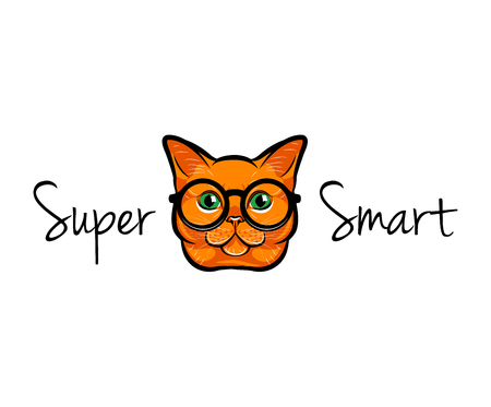 Vector Illustration Portrait of Smart Cat. Cat in glasses.  Vector illustration. Super smart lettering.