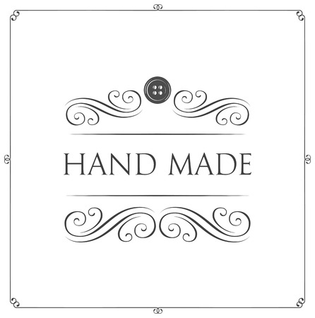 Hand made icon label badge. Button icon. Swirls, flourish and filigree elements. Vintage vector Illustration, isolated on white background.